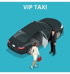 VIP taxi concept A pretty business woman getting vector image vector image