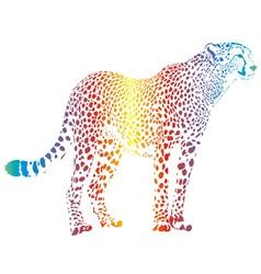 abstract rainbow cheetah vector image vector image