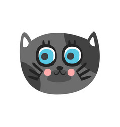cute grey cat head with beautiful blue eyes funny vector image vector image