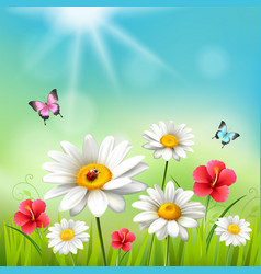 daisy realistic 3d composition vector image vector image