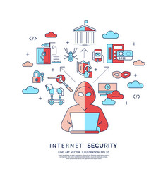 digital blue internet security data vector image vector image