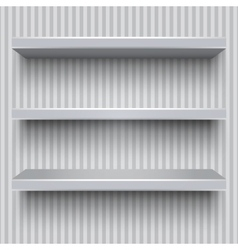 Empty grey shelves striped wall vector image