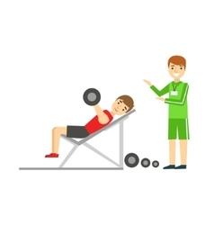 Man Weight Lifting With Personal Trainer Member vector image