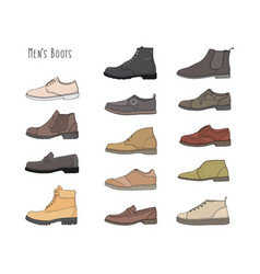 set with different types men boots vector image