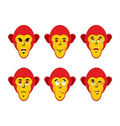Set with emotions monkeys Cheerful and angry vector image vector image