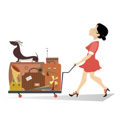 Smiling woman with a luggage isolated vector