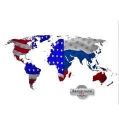 The world map USA with Russia and all states vector image