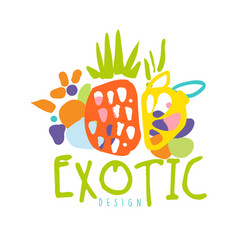 exotic logo design with tropical fruits colorful vector image