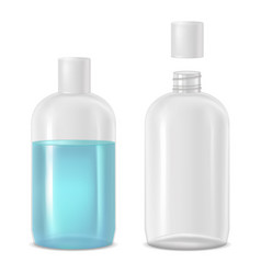 full and empty bottle with lotion vector image