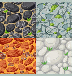 cartoon stones seamless patterns set vector image vector image
