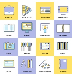 Design Flat Line Icons vector image vector image