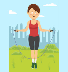 fit young woman jumps with rope in park vector image