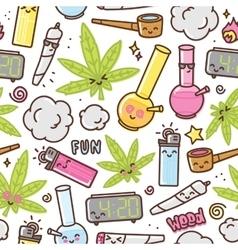 Marijuana kawaii cartoon seamless pattern vector image vector image
