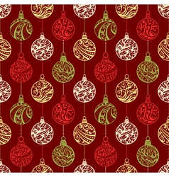 Seamless pattern of Christmas balls vector image