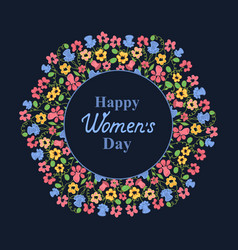 womens day march 8 flower wreath greeting card vector image vector image