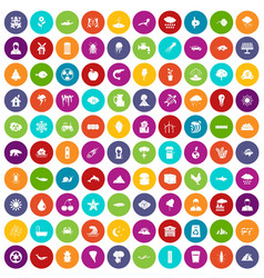 100 earth icons set color vector