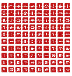 100 windmills icons set grunge red vector