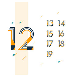 12 year retro anniversary set celebration vector