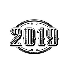 2019 numbers retro design in black and white style vector image