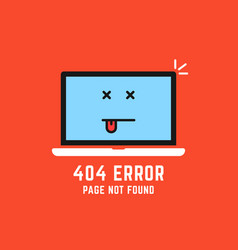 404 error like laptop with dead emoji vector
