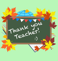 a chalkboard with text thank you teacher vector image