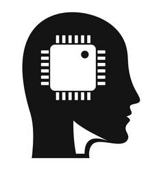 ai smart processor head icon simple style vector image
