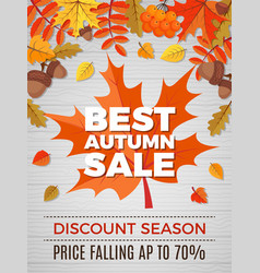 autumn poster sales orange and yellow leaves vector image