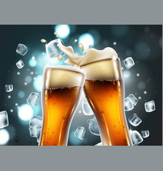 Beer glasses with bubbles and a foamy splash very vector