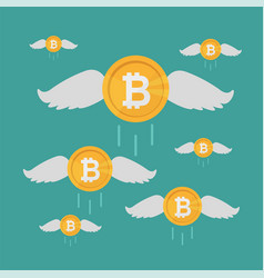 bitcoin coin flies with wings crypto currency vector image