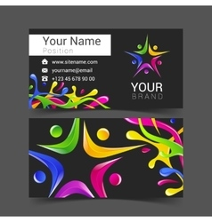 Business card with Colored blots vector