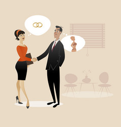 Businessman and businesswoman shaking hands retro vector