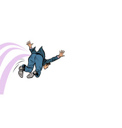businessman funny jumps forward vector image