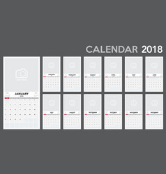 calendar 2018 template design vector image