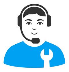 Call center serviceman flat icon vector