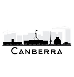 Canberra city skyline black and white silhouette vector