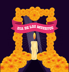 candle to decorate in day of the dead vector image