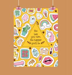 Cartoon pattern girlish accessories vector