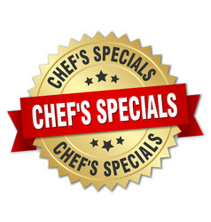 Chefs specials 3d gold badge with red ribbon vector