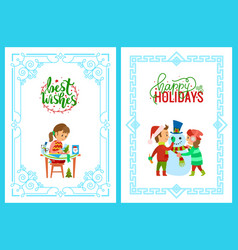 christmas holidays girl with card kids and snowman vector image