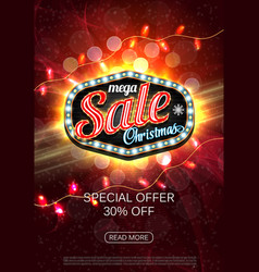 christmas sale advertising poster for the vector image
