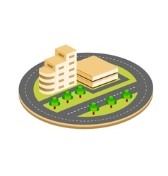 City isometric houses vector