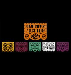 Colorful papel picado collection design template vector