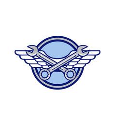 Crossed spanner air force wings icon vector