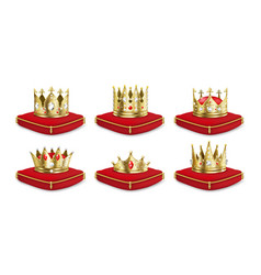 crowns on pillow realistic 3d golden king vector image