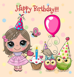 Cute girl and owl with balloon and bonnets vector