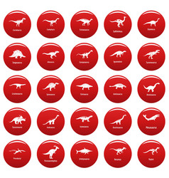 Dinosaur types signed name icons set vetor red vector