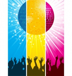 divided disco ball and crowd vector image