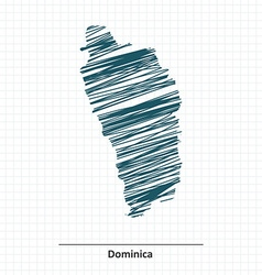 Doodle sketch of Dominica map vector image