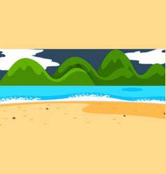 empty beach landscape scene at night with vector image