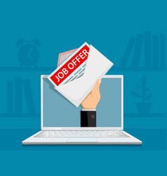 Envelope with job offer on the laptop screen vector